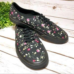 Vans Black Polka Dot Floral Low Top Sneakers Skate